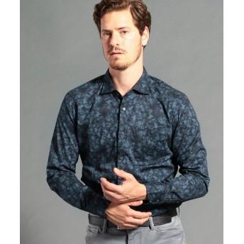 ムッシュニコル ボタニカルプリントセミワイドカラーシャツ メンズ 67ネイビー 46(M) 【MONSIEUR NICOLE】