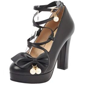 [BeiaMina] 靴 レディース 可愛い ロリータ靴 厚底 太ヒール パンプス リボン コスプレ シューズ 大きいサイズ 39AS Black