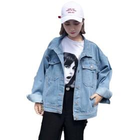 BSCOOLレディース ジージャン 春 ゆったり デニム ジャケット gジャン 韓国風 ストリート アウター(Dブルー)