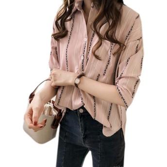 REHOODNレディース シャツ ブラウス 夏 シャツ アロハシャツ 半袖 トップス 体型カバー 7分袖 快適 上品 スキッパー ストライプ シャツピンクRE3