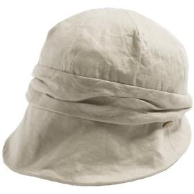 クイーンヘッド UVカット 帽子 ミラクルキャスダウンハット 小顔 ハット レディース 大きいサイズ つば広 紫外線カット 女優帽 (XLサイズ 61cm カーキ)