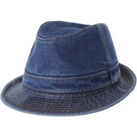 WITHMOONSフェドーラ紳士 ハットデニム フェドラーハット プレーン スティッチ ウォッシュド ショート ブリム ギャングスタートリルビDW6646(Blue-L)