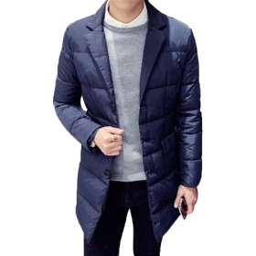 GuDeKe ダウンジャケット メンズ ロング ダウンコート ビジネス 厚手 防寒ジャケット チェスター 中綿入 棉服 ライトダウン あったかい カジュアル ゆったり 修身 無地 防風 ブルゾン かっこいい 大きいサイズ ネイビー2XL