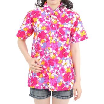 [OKI(オキ)] アロハシャツ メンズ レディース ユニセックス かりゆしウェア ハイビスカスB (L, ピンク)