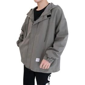 ジャケット メンズ 春秋 かっこいい ウィンドブレーカー コート 大きいサイズ おしゃれ 薄手 長袖 カジュアル 軽量 防風 防寒 アウトドア アウター 防寒ウェア フード付き 無地 グリーン XL
