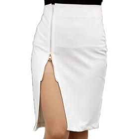 (エンジェルムーン) AngelMoon スカート 膝丈 スリット ファスナー (M, 白)