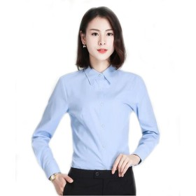 Foxseon レディース 女性 オフィス シンプル Vネック ワイシャツ 長袖 白Yシャツ スリム デザイン (M, ブルー)
