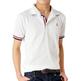 (アローナ) ARONA 衿裏配色 カノコ ポロシャツ メンズ 半袖/M2/40ホワイト M