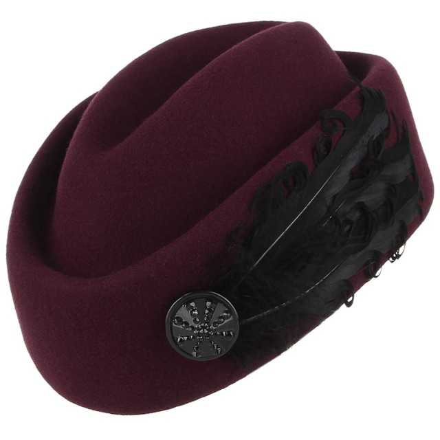 Y-BOAトーク帽 礼装帽子 カクテルハット ヘッドドレス ベレー帽 画家帽 ウール 帽子 羽根飾り レディース 欧風 パーティー ウェディング 結婚式 披露宴 ワインレッド