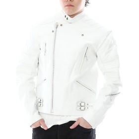 カウ革ジャン UK スタンドカラー パッディング ライダースレザージャケット メンズ 3578 (3L, ホワイト)