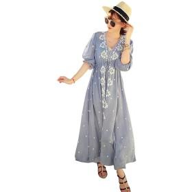 EASONDDD マキシ ワンピース ドレス 刺繍 ボシミア風 夏 花柄 ロングワンピース マタニティー ドレス ビーチ ワンピ リゾート 旅行 海 民族風 体型カバー