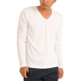 (スペイド) SPADE Tシャツ メンズ 長袖 Vネック ロングTシャツ 無地 プレーン【w188】 (L, V×ホワイト)