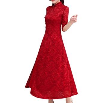 [CAIXINGYI] 春 秋 夏 中華風 長いセクション レースドレス 女性 7色 改良チャイナドレス 大きいサイズ S-3×1 レトロ スカート レディーズ スタンディングカラー チャイナドレス 国民的スタイル 気質 ファッション ドレス (XXL, レッド)