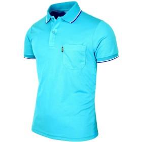 BCPOLOメンズポロシャツのDriフィットソリッドポロシャツアスレチック半袖ポロシャツ様々な色- Sky-Blue-S