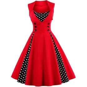 ワンピース ドレス ジャンパースカート A字形 ハイウエスト 50年代スタイル パーティー 多色サイズ - 赤, S