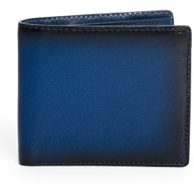 [ポヨリー] 財布 メンズ 二つ折り財布 本革 札入れ カード入れ ボックス型小銭入れ 薄い 紳士財布 ブランド ネイビー