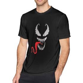 ベーシックTシャツ メンズ 半袖 コットン Venom スパイダーマンのヴェノム シンプル カジュアル ショートスリーブカ クルーネック 快適 吸汗速乾 夏