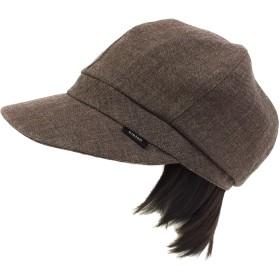 【抗がん剤治療】【ケア帽子】レイヤーボブwig付き Ladies キャスケット帽子(裏シルク)フリー Cheemo Hat (ブラウン)