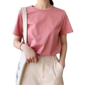 tシャツ レディース 半袖 クルーネック トップス 綿 夏 無地 大きいサイズ シンプル ゆったり かわいい 黒 白 ピンク オレンジ(S.ピンク)