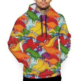 恐竜の時代 パーカー メンズ スウェット 秋冬 大きいサイズ 長袖 トップス プルパーカー カジュアル 3Dプリント ポケット付き