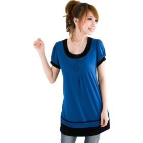 [MIKA&MAYA] Tシャツ 半袖 チュニック シャツ カットソー レディース シンプル ウェア (ブルー 3XL)