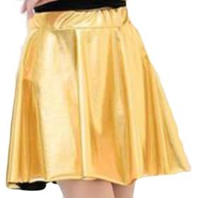 maweisong 女性のファッションのにせの革のメタリック・ミニ・スカート Golden XS