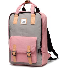 リュック レディース,Vaschy 通学 高校生 通勤 バックパック レディース 撥水 おしゃれ 旅行 ピンクとグレー
