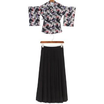 矢羽柄 和式 プリント 改良 着物 和服 上下セット 日本式 ふわふわな彼女 羽織 上着 アンド プリーツスカート 浴衣 (L, ロングブラック)
