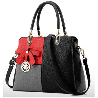 ハンドバッグ ショルダーバッグ 女性レザーカバン 革鞄 婦人カバン ファスナー ギフト 母の日プレゼント財布 収納小物 レディース (黒ミックス)