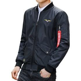 ジャケット メンズ レディース 中綿 両面着 ma-1ジャケット ジャンパー 秋春冬 ブルゾン カジュアル 刺繍ワッペン フライトジャケット (XL(日本サイズXLに相当), ブラック薄手)