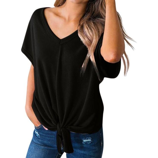 tシャツ レディース wileqep 夏  半袖 ブラウス シャツ 上着 素晴らしい 包帯 ホップ条 Vネック 無地 柔らかい きれい メッシュ おしゃれ カジュアル セクシー 素晴らしい 通学 通勤 可愛い 人気 日常用 (M, ブラック)