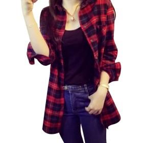 レディース ロングシャツ チェック柄 長袖 ワンピース 大きいサイズ ひざ丈
