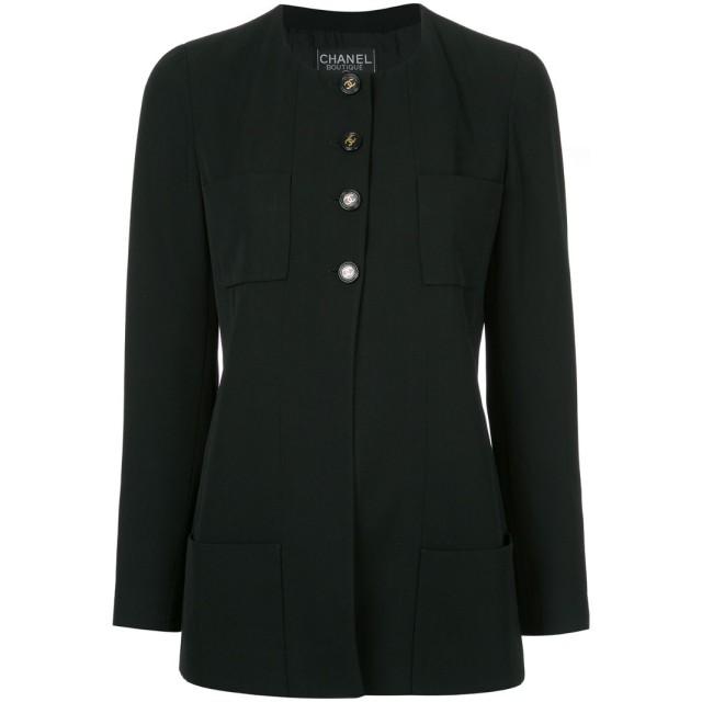Chanel Pre-Owned ノーカラージャケット - ブラック