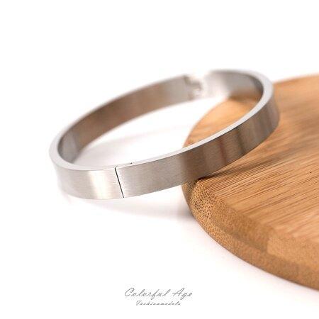 手環 簡約霧面夾扣式白鋼手環【NA377】簡潔低調