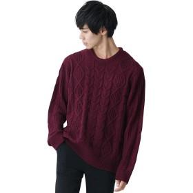 (モノマート) MONO-MART オーバーサイズ アラン編み クルーネック ケーブル ニット セーター メンズ ワイン Sサイズ