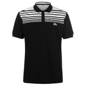 Lonsdale メンズストライプ ポロシャツ ブラック/ホワイト M