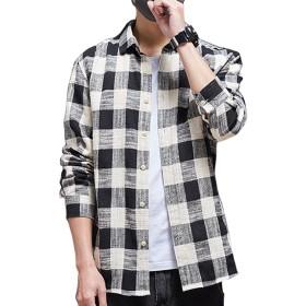 シャツ 長袖 メンズ ギンガムチェック ネルシャツ カジュアル おしゃれ 大きいサイズ ストライプ スリム シャツGlestore(グラストア)ブラックL