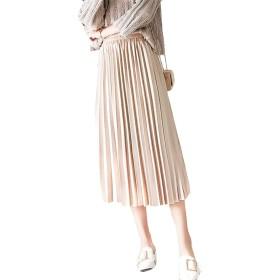 [ディーハウ]プリーツスカート レディース ロングスカート フレア ハイウエスト ゴム フリル カジュアル ふりふり シンプル 無地 きれいめ Aライン 着痩せ 森ガール かわいい ベージュS