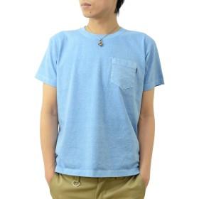 (ジーンズバグ)JEANSBUG オリジナル ピグメント 染め 半袖 ポケット Tシャツ メンズ レディース 大きいサイズ 無地 PKST-PIGMT XL サックスブルー(82)