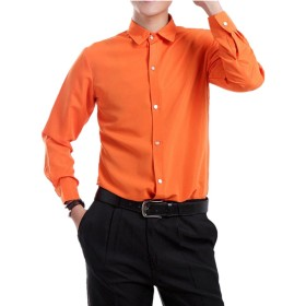 MANMASTER(マンマスター) メンズ カラーシャツ Yシャツ ワイシャツ オシャレシャツ 長袖シャツ ステージ 社交ダンス 舞台 忘年会 新年会 合唱 吹奏 カラオケ衣装 ライブ マジック用 CH186 (XL, オレンジ)