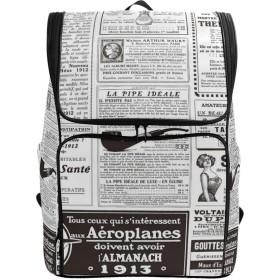マキク(MAKIKU) リュックサック 大容量 軽量 新聞 英語 国際的 黒白色 リュック メンズ 登山 通学 通勤 旅行 プレゼント対応