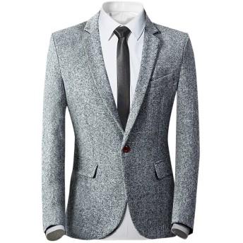 YUNCLOS メンズジャケット テーラードジャケット スーツジャケット カジュアルスーツジャケット 1つボタン ゆったり ビジネスマン カッコイイ アウター 紳士