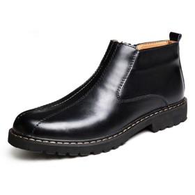 [Placck] ビジネスブーツ メンズ 本革 紳士靴 カジュアルシューズ エンジニアブーツ サイドジップ ウォーキング ショートブーツ 防水 防滑 イングランド風 Hei41