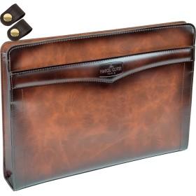 クラッチバッグ セカンドバッグ PVCシャドーフィニッシュ A4ファイル対応 [タケハチ] 竹八謹製 [牛革製ケーブルバンド2個セット] ブラウン tm0237