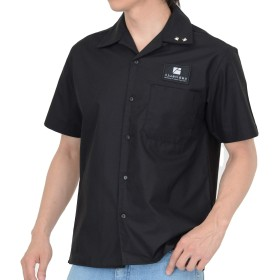 Ajustidea ジャスタイド スタッズ オープンカラーシャツ ブラック (XL)