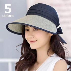 つば広キャップ つば広帽 サンバイザー 日よけ帽子 折りたたみ帽子 バックリボン トップ開き レディース 帽子 ぼうし キャップ 異素材使い 折り畳み