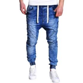 ダメージジーンズ メンズ ジーンズ Fortan ジーパン ベーシック スリムフィット デニムパンツ 薄手 カジュアル 男性 秋冬着 ロング丈 長ズボン デニム 通気性 コットン生地 ロングパンツ おしゃれ 通学 タイト ブルー