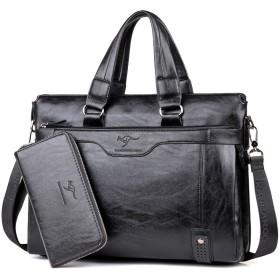 BANDICOOT カンゴール メンズ ビジネスバッグ 2way 本革 ブランド 通勤 通学 レザー スーツケース 3色 (ブラック)
