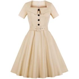 Simgahuva レディース ドレス ワンピース 無地Aライン1950年代 ロリータ 結婚式パーティー 大きいサイズ Beige 4XL