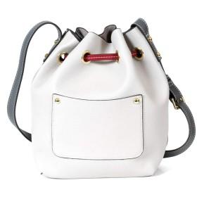 Un bel tocco巾着 ショルダーバッグ レディース bag ミニバッグ ツートンカラー 軽量 ファスナー収納付き 6カラー (ホワイト/ブラック)